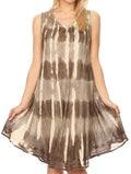 Sakkas Milly Women's Midi Loose Casual Summer Sleeveless Dress Sundress Cover-up#color_Brown