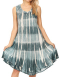 Sakkas Milly Women's Midi Loose Casual Summer Sleeveless Dress Sundress Cover-up#color_Teal