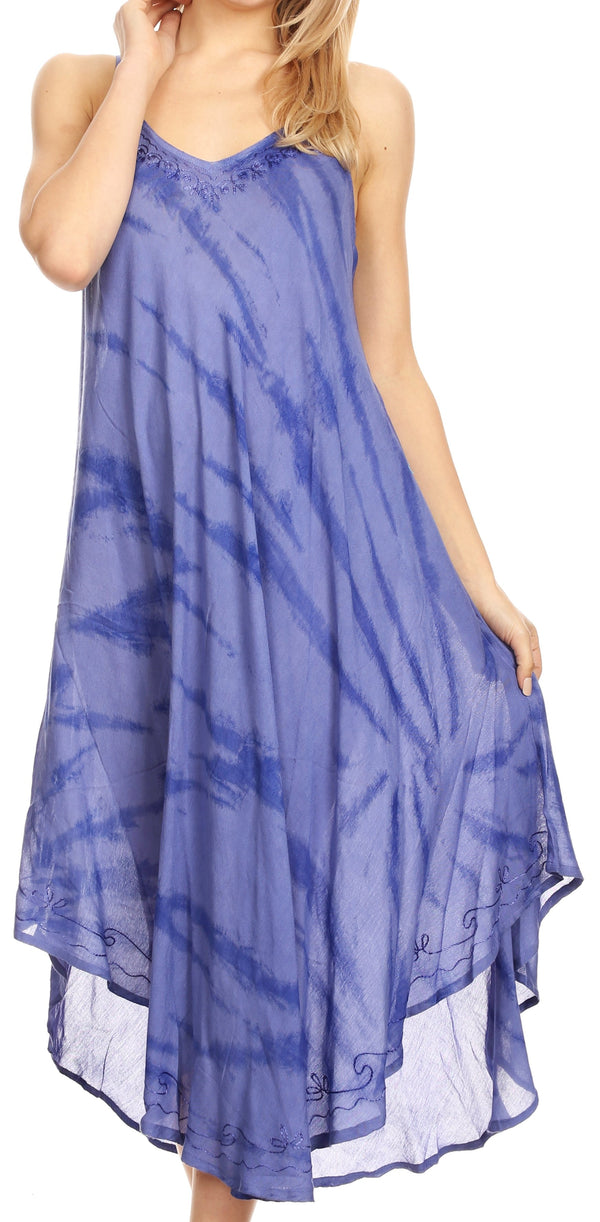 Sakkas Nila Women's Double Spaghetti Strap V-neck Casual Maxi Long Summer Dress#color_19332-Blue