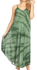 Sakkas Nila Women's Double Spaghetti Strap V-neck Casual Maxi Long Summer Dress#color_19332-Green