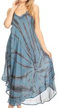 Sakkas Nila Women's Double Spaghetti Strap V-neck Casual Maxi Long Summer Dress#color_19332-SteelBlue