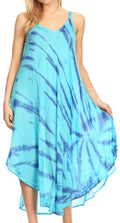 Sakkas Nila Women's Double Spaghetti Strap V-neck Casual Maxi Long Summer Dress#color_19332-Turquoise