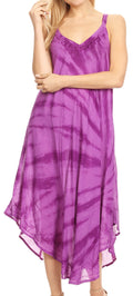 Sakkas Nila Women's Double Spaghetti Strap V-neck Casual Maxi Long Summer Dress#color_19332-Violet