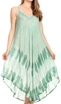 Sakkas Nila Women's Double Spaghetti Strap V-neck Casual Maxi Long Summer Dress#color_19334-Green