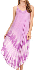 Sakkas Nila Women's Double Spaghetti Strap V-neck Casual Maxi Long Summer Dress#color_19334-Lavender