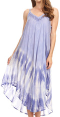 Sakkas Nila Women's Double Spaghetti Strap V-neck Casual Maxi Long Summer Dress#color_19334-SkyBlue