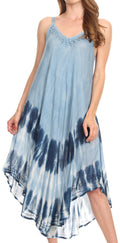 Sakkas Nila Women's Double Spaghetti Strap V-neck Casual Maxi Long Summer Dress#color_19334-SteelBlue
