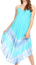 Sakkas Nila Women's Double Spaghetti Strap V-neck Casual Maxi Long Summer Dress#color_19334-Turquoise