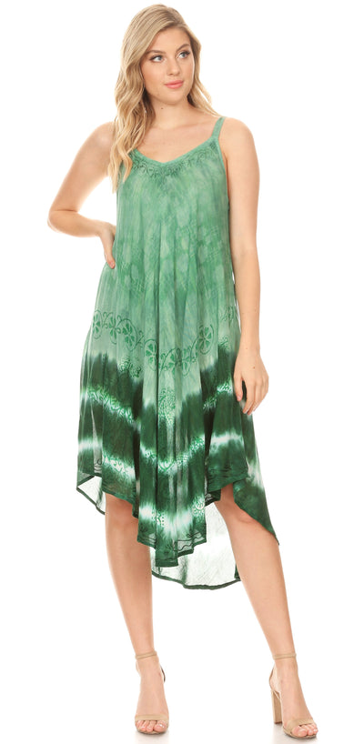 group-19335-Green (Sakkas Nila Women's Double Spaghetti Strap V-neck Casual Maxi Long Summer Dress)