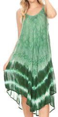 Sakkas Nila Women's Double Spaghetti Strap V-neck Casual Maxi Long Summer Dress#color_19335-Green