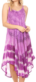 Sakkas Nila Women's Double Spaghetti Strap V-neck Casual Maxi Long Summer Dress#color_19335-Lavender