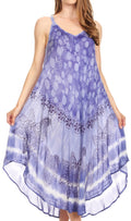 Sakkas Nila Women's Double Spaghetti Strap V-neck Casual Maxi Long Summer Dress#color_19335-Periwinkle