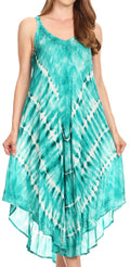 Sakkas Nila Women's Double Spaghetti Strap V-neck Casual Maxi Long Summer Dress#color_19336-EmeraldGreen