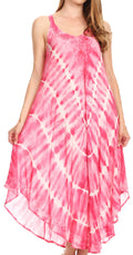 Sakkas Nila Women's Double Spaghetti Strap V-neck Casual Maxi Long Summer Dress#color_19336-Pink