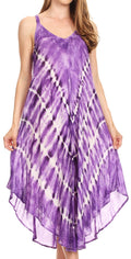 Sakkas Nila Women's Double Spaghetti Strap V-neck Casual Maxi Long Summer Dress#color_19336-Purple
