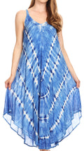 Sakkas Nila Women's Double Spaghetti Strap V-neck Casual Maxi Long Summer Dress#color_19336-RoyalBlue