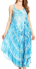 Sakkas Nila Women's Double Spaghetti Strap V-neck Casual Maxi Long Summer Dress#color_19336-Turquoise
