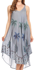 Sakkas Nila Women's Double Spaghetti Strap V-neck Casual Maxi Long Summer Dress#color_Gray