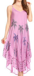 Sakkas Nila Women's Double Spaghetti Strap V-neck Casual Maxi Long Summer Dress#color_Lavender