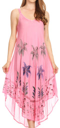 Sakkas Nila Women's Double Spaghetti Strap V-neck Casual Maxi Long Summer Dress#color_Pink