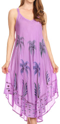 Sakkas Nila Women's Double Spaghetti Strap V-neck Casual Maxi Long Summer Dress#color_Purple
