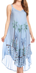 Sakkas Nila Women's Double Spaghetti Strap V-neck Casual Maxi Long Summer Dress#color_SkyBlue