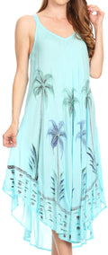 Sakkas Nila Women's Double Spaghetti Strap V-neck Casual Maxi Long Summer Dress#color_Turquoise