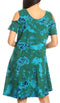 Sakkas Sienna Women's Knit Cold Shoulder Short Sleeve Flared Shift Short Dress#color_Green