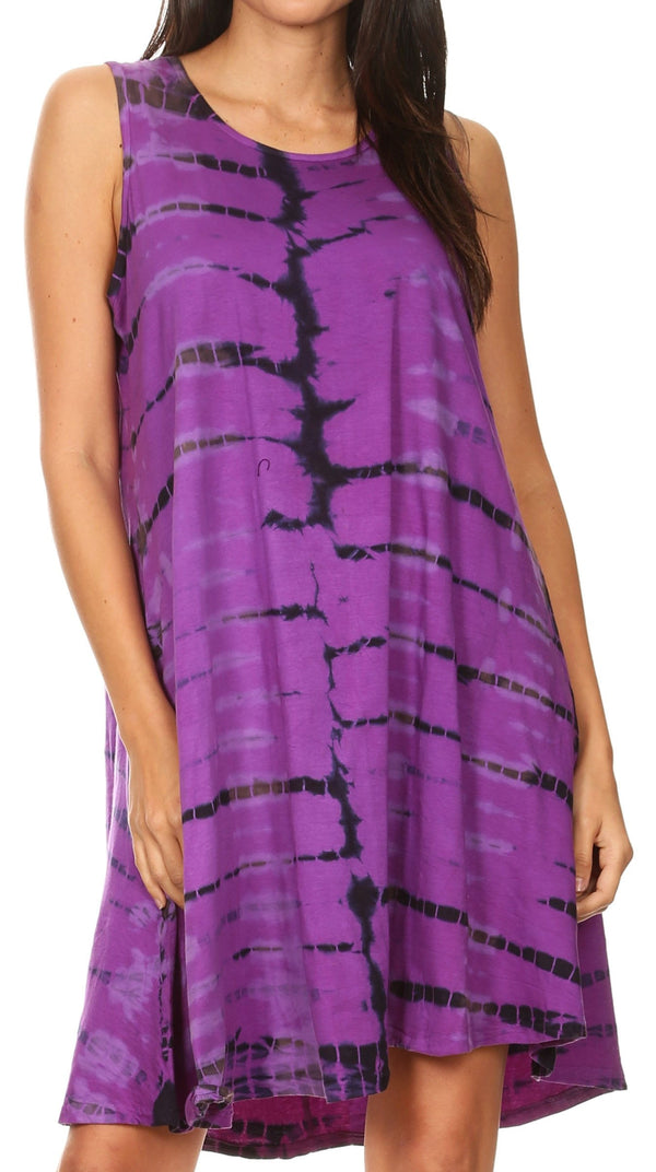 Sakkas Dora Women's Sleeveless Knit Loose Casual Shift Print Tank Dress Sundress#color_Purple