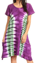 Sakkas Sirena Women's Short Sleeve Loose Plain Midi Casual Scoop Neck Flared Dress#color_Purple/green