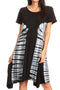 Sakkas Sirena Women's Short Sleeve Loose Plain Midi Casual Scoop Neck Flared Dress#color_Black / Grey