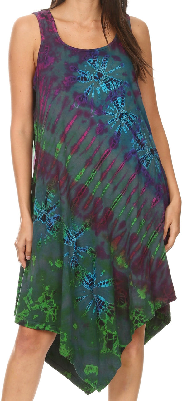 Sakkas Dylla Women's Sleeveless Tie Dye Casual Stretchy Loose Tank Dress Sundress #color_Green