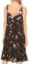Sakkas Rute Women's Sleeveless V-neck Ruched Flared Loose Midi Summer Casual Dress#color_Black