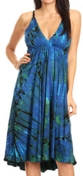Sakkas Luzia Women's Sleeveless Midi Flared Casual Summer Dress V-neck Knit#color_Blue