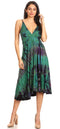 Sakkas Luzia Women's Sleeveless Midi Flared Casual Summer Dress V-neck Knit