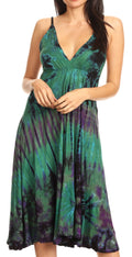Sakkas Luzia Women's Sleeveless Midi Flared Casual Summer Dress V-neck Knit#color_Olive