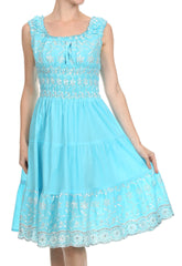 Sakkas Women's Gwendolyn Sequin Embroidered Smocked Bodice Peasant Dress
