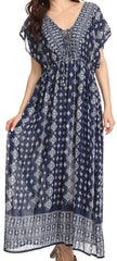 Sakkas Sofia Aztec Print V-neck Caftan Summer Long  Maxi Dress
