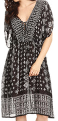 Sakkas Denika Aztec Print Summer Midi Dress Cover-up with V Neck