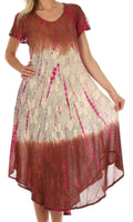 Sakkas Mika Ombre Floral Caftan Dress#color_Brown / Cream