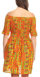 Sakkas Ife Wax African Ankara Colorful Cocktail Short Dress Off-shoulder w/pockets
