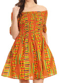 Sakkas Ife Wax African Ankara Colorful Cocktail Short Dress Off-shoulder w/pockets#color_1065-orange/blue-tribal