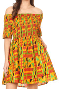 Sakkas Ife Wax African Ankara Colorful Cocktail Short Dress Off-shoulder w/pockets#color_1066-Orange/black-tribal