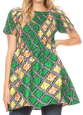 Sakkas Ife Wax African Ankara Colorful Cocktail Short Dress Off-shoulder w/pockets#color_22-Multi