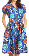 Sakkas Ife Wax African Ankara Colorful Cocktail Short Dress Off-shoulder w/pockets#color_2259-42-Multi