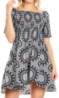 Sakkas Ife Wax African Ankara Colorful Cocktail Short Dress Off-shoulder w/pockets#color_26-BlackWhite
