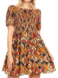 Sakkas Ife Wax African Ankara Colorful Cocktail Short Dress Off-shoulder w/pockets#color_27-Multi