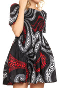 Sakkas Ife Wax African Ankara Colorful Cocktail Short Dress Off-shoulder w/pockets#color_28-Multi