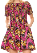 Sakkas Ife Wax African Ankara Colorful Cocktail Short Dress Off-shoulder w/pockets#color_404-Multi