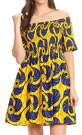 Sakkas Ife Wax African Ankara Colorful Cocktail Short Dress Off-shoulder w/pockets#color_417-blue/yellow-fan